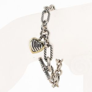 David Yurman Heart Toggle Figaro 18K 925 Bracelet